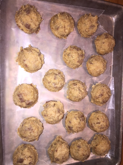 Unless you need to bake up the whole batch, freeze some for later! Place a tray with parchment or waxed paper, scoop as many on the tray as you'd like to freeze.  Place in the freezer to firm up, about 20 minutes.